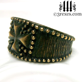 Bronze Studded Iron Cross Ring for men Knights Templar Masonic Mason Jewelry side view