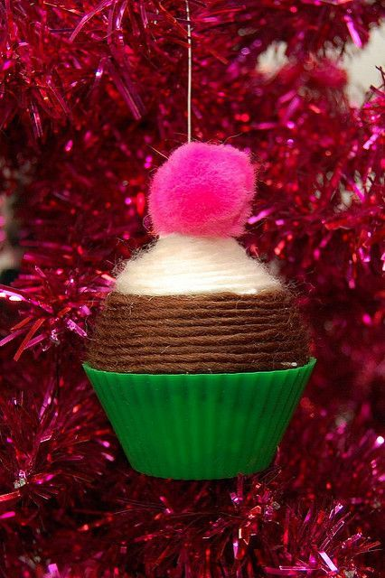 DIY Yarn Cupcake Christmas Tree Ornament