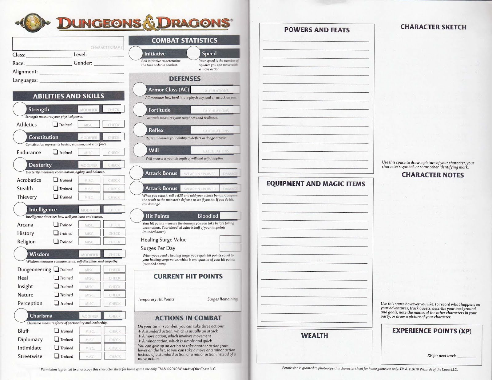 Download free Dungeon And Dragons Character Sheets 1St