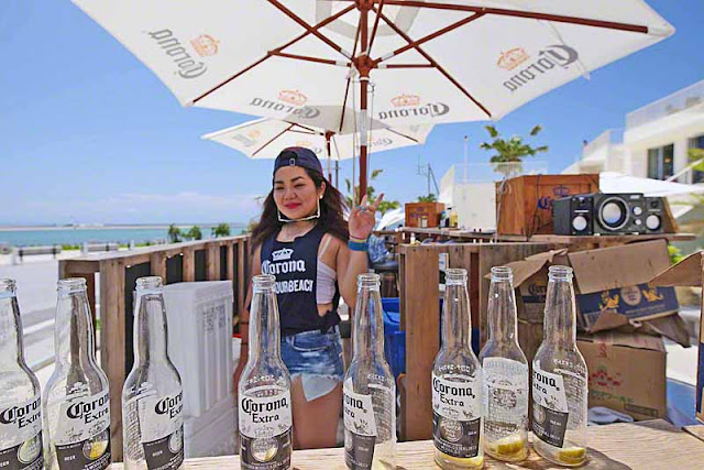 Corona beer, bottles, girl