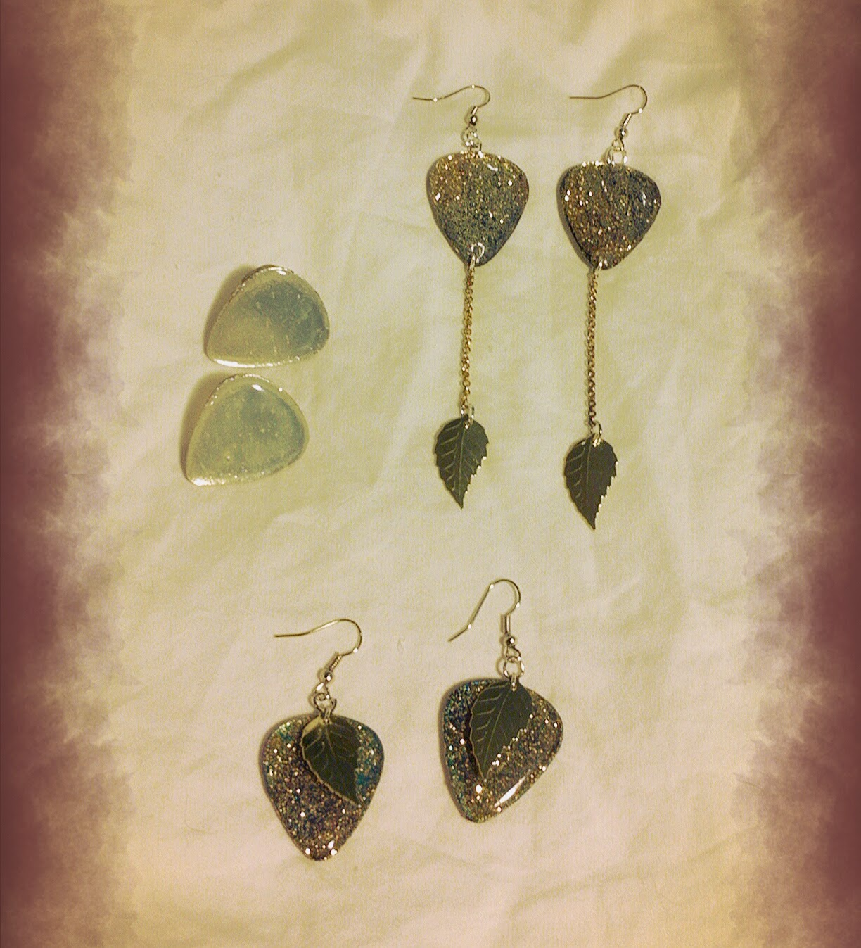 Guitar Pick Earrings featuring glitter & gold leaf