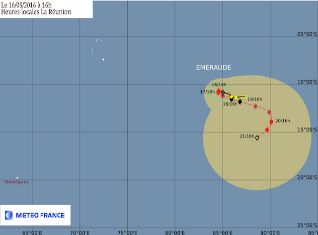 Trajectoire et intensité du cyclone tropical Emeraude