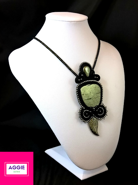 black soutache pendant with pyrite