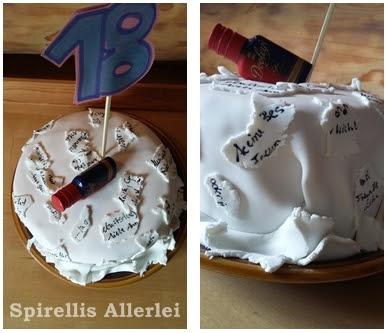 Kuchen mit Optik einer zerrissenen Geburtstagskarte