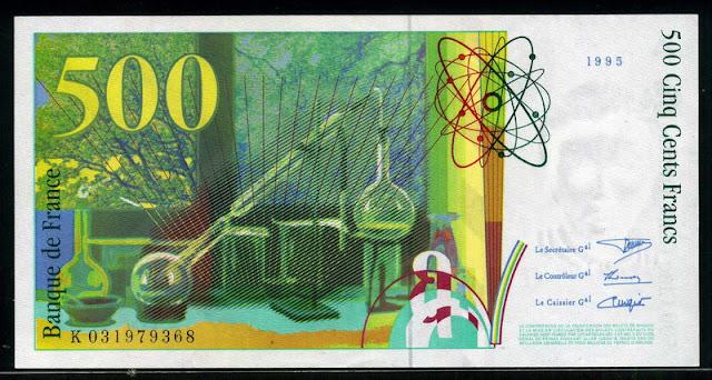 world currency 500 French Francs banknote Billets Banque de France