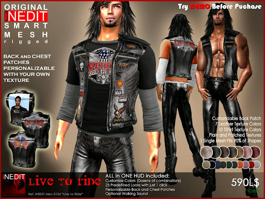 *LIVE TO RIDE* Leather Outfit for Dare Men. 100% Original Liquid Mesh iEDIT