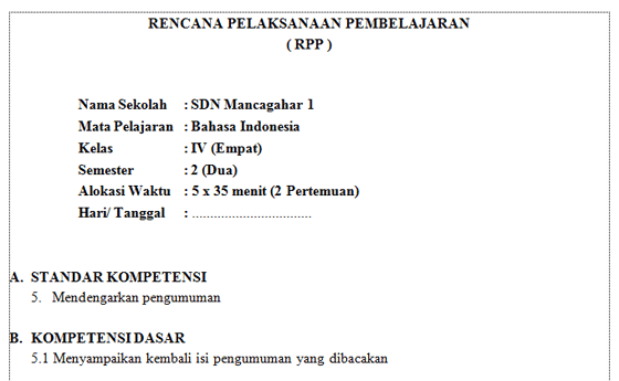 RPP SD/MI Kelas 4 Semester 2
