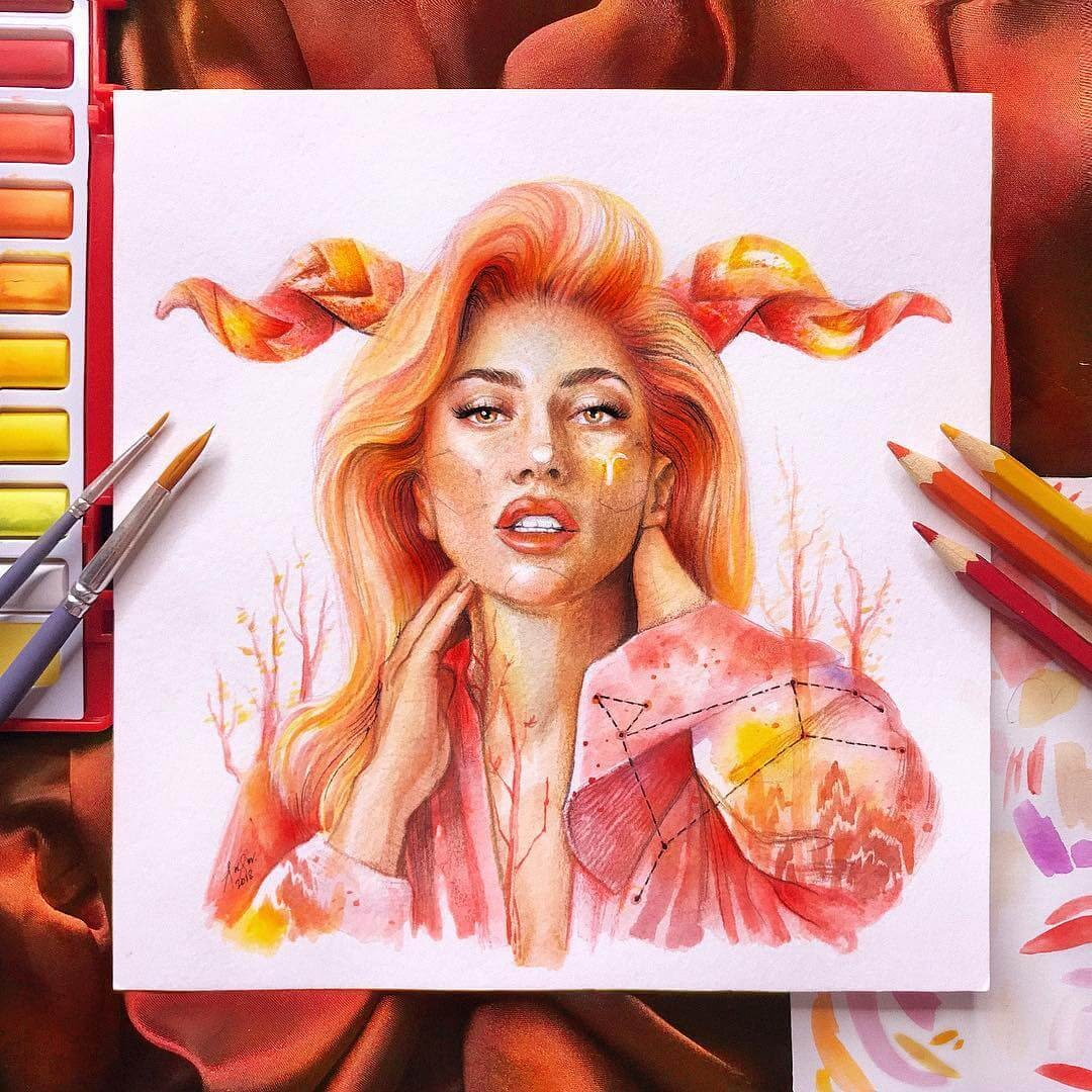 05-Aries-ft-Lady-Gaga-A-Manguba-Drawings-of-Celebrities-and-the-Zodiac-www-designstack-co