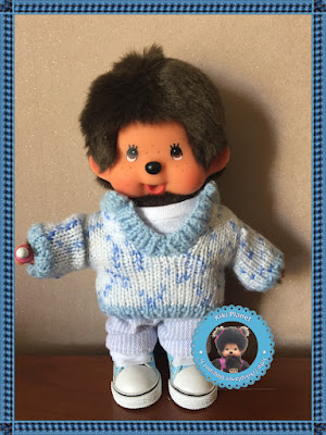 Pull moucheté bleu pour Kiki et Monchhichi - tricot - vêtement - vintage