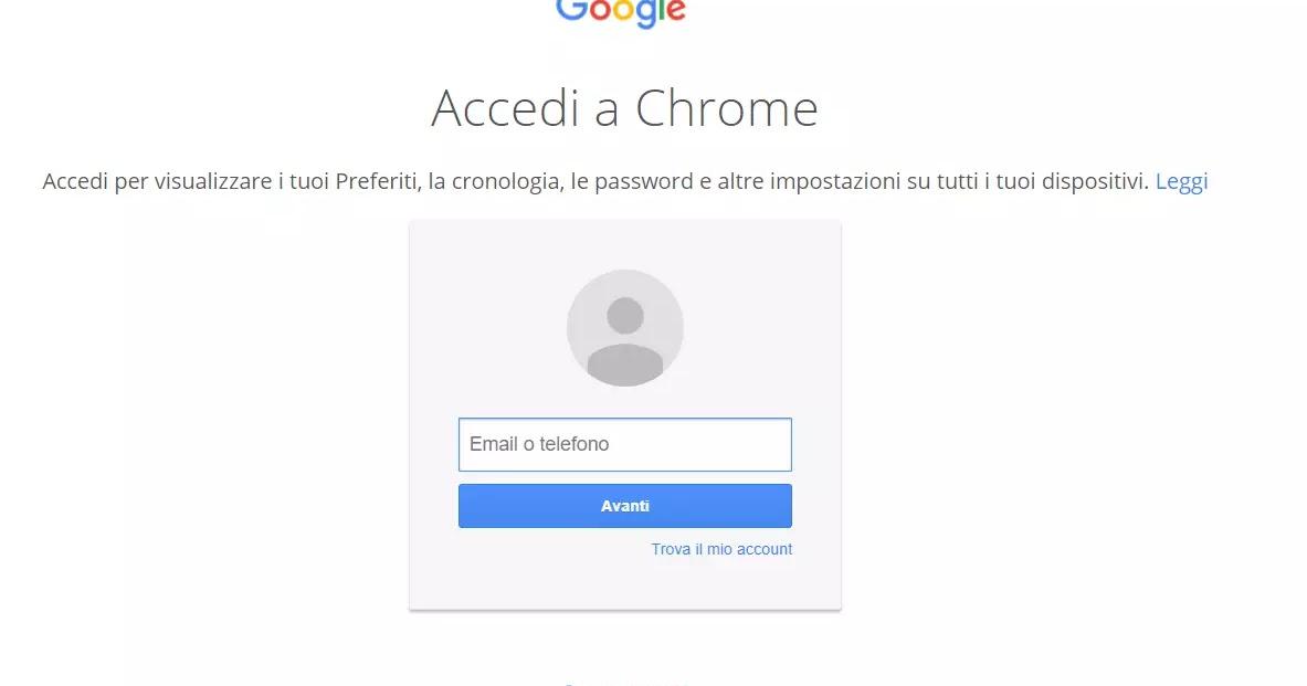 Disattivare accesso automatico a Chrome con account Google
