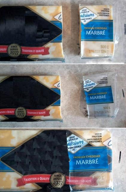 3 - Corte o queijo com embalagem e tudo. Depois de retirar um pedaço, você pode usar a embalagem para proteger o restante.