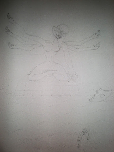 Rough sketch of a giant six-armed goddess statue looking down on man.