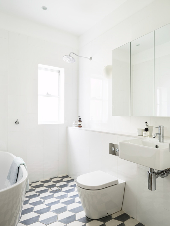 White bathrooms with b&w patterned floors | Decus Interiors