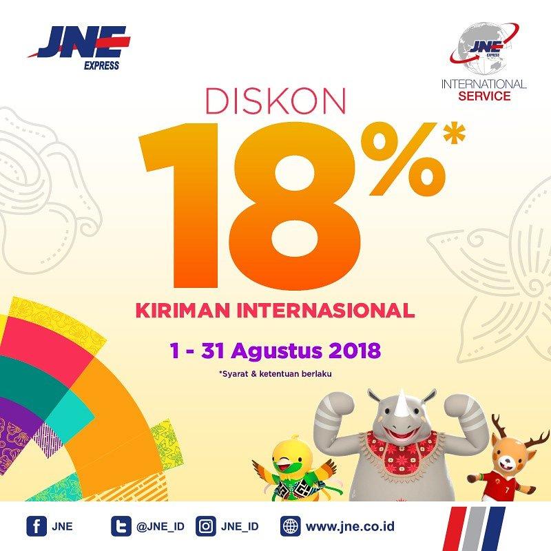 JNE - Diskon 18% Kirim ke Internasional 44 Negara Asian Games 2018