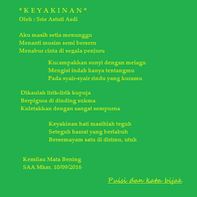 Puisi Keyakinan jiwa wanita bermata hujan.