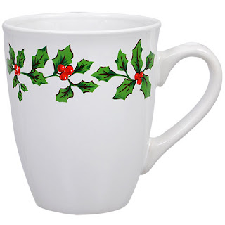 Holly Berry White Stoneware Mugs, 12 oz