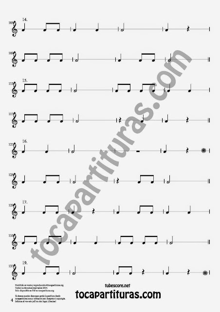 4. 27 Ejercicios Rítmicos para Aprener Solfeo en el Compás de 2/4 Aprender negras, corcheas, blancas y sus silencios. Easy Rithm Sheet Music for quarter notes, half notes, 1/8 notes and silences