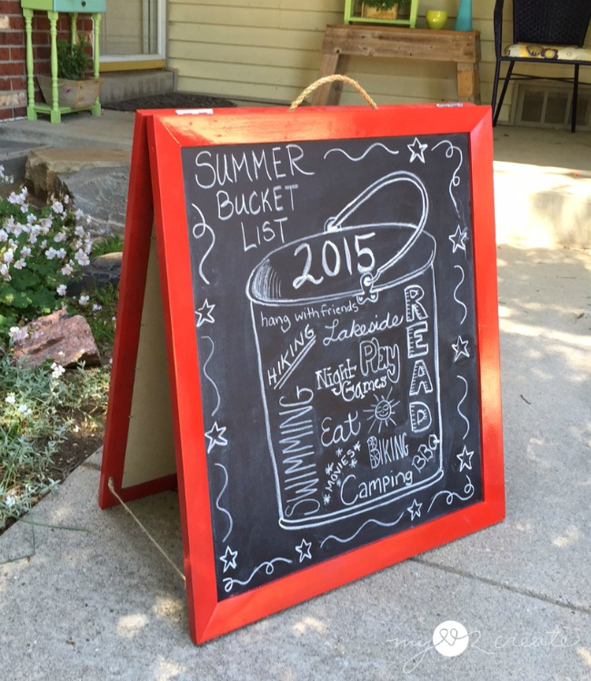 DIY Chalkboard Easel with a summer bucket list,  MyLove2Create