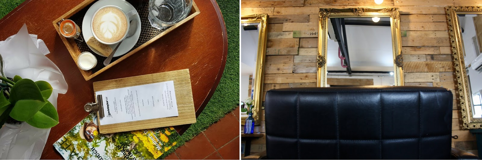 two images side by side showing a flatlay of coffee and one of the stylists' chairs at Gavin Taylor Hair