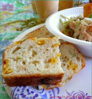 Fiesta Quick Bread, a quick and flavorful bread with a bit of a kick. For breakfast or with lunch or dinner, perfect any time of day | Recipe developed by www.BakingInATornado.com | #recipe #bread