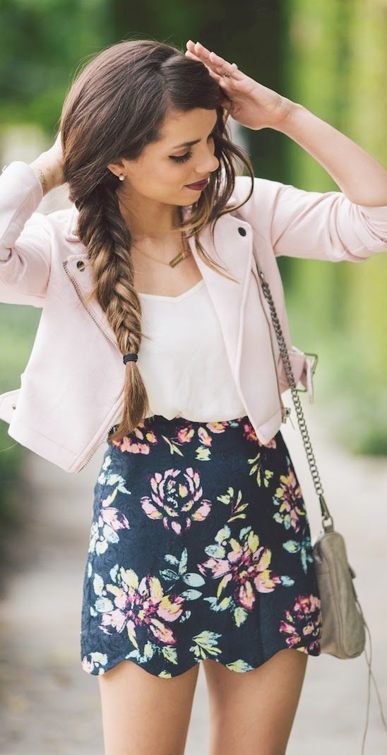 what to wear a floral mini skirt : pink biker jacket + bag + top