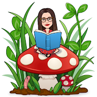 Miss Lawrence's cartoon avatar, a woman with big glasses and long brown hair, in a red floral dress, sits cross legged on a toadstool surrounded by grass and clover, reading a blue book. A worm pops his head out of the earth in the bottom left corner.