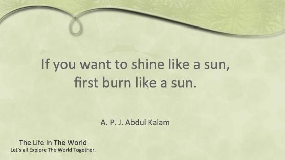 If you want to shine like a sun, first burn like a sun.