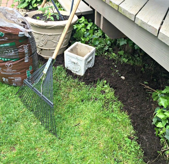 Rake and mulched edging