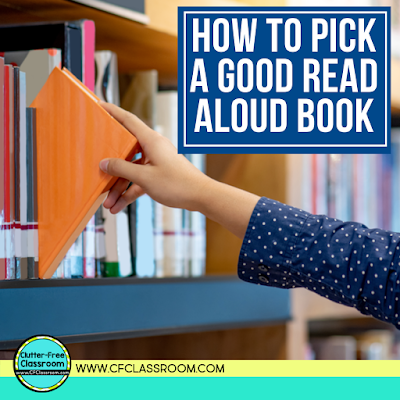 Are you not sure how to pick a good read aloud book? Check out this blog post that offers easy tips for selecting a children's book that is exactly what you need for a specific lesson or grade. Be sure to grab the freebie while you are there that includes seasonal book lists for read alouds. #readaloud #booklist #reading