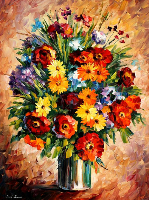 Frames And Colors Amazing Flower Paintings By Leonid Afremov