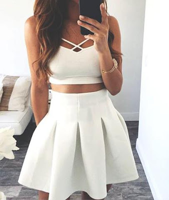 WHITE TWO PIECE SPAGHETTI STRAPS HOMECOMING DRESS
