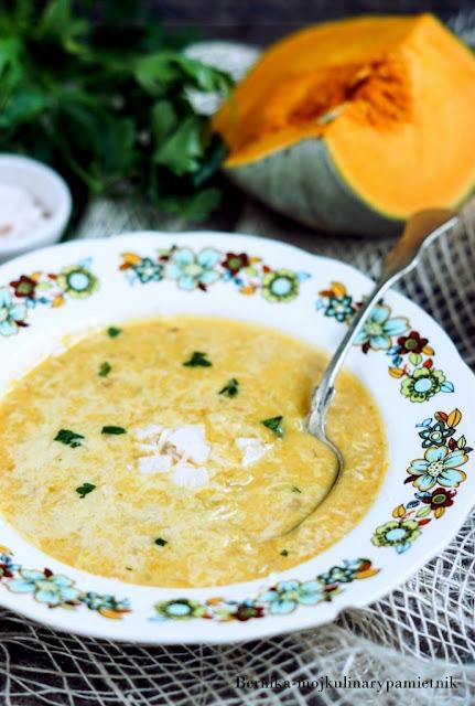zupa, dynia, pory, jesien, bernika, obiad, kulinarny pamietnik