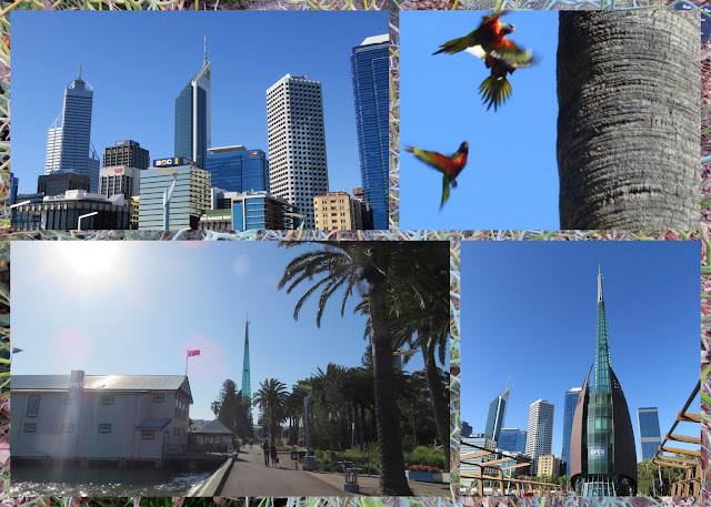 Collage of pictures from the Riverside walking path along the Swan River in Perth