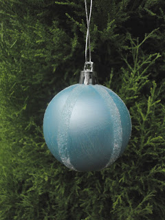 Blue pearl bauble with white glitter stripes