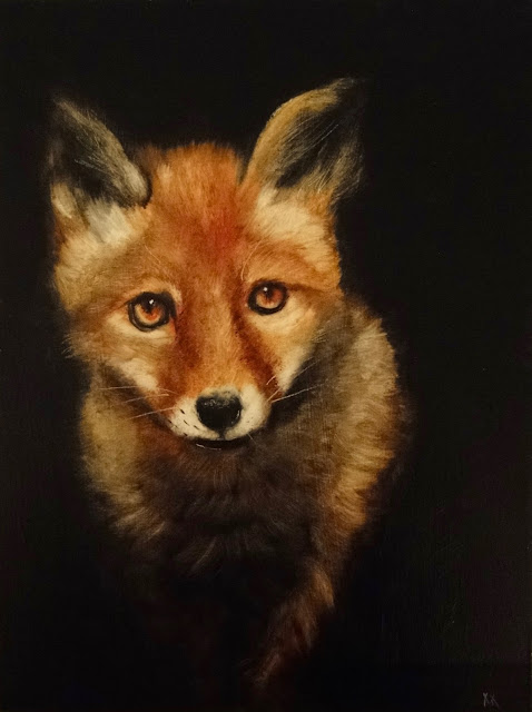 oil painting of young fox at night