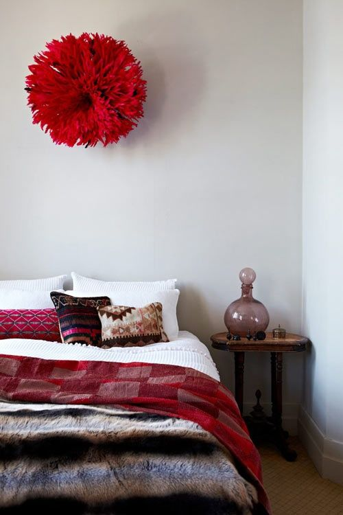 cozy bedroom with brown and red