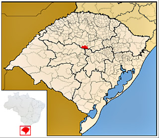 Cidade de Salto do Jacuí, no mapa do Rio Grande do Sul