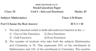 11th Maths - Unit Test 1 Model Question English Medium Download Here