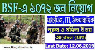 BSF Head Constable Recruitment 2019 - Apply Online for 1072 post of RO & RM