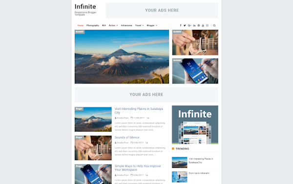 Infinite Responsive Template Blogger