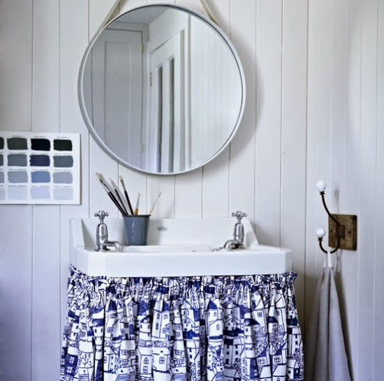 To da loos feature wall ideas for round mirrors - Round mirror over bathroom vanity ...