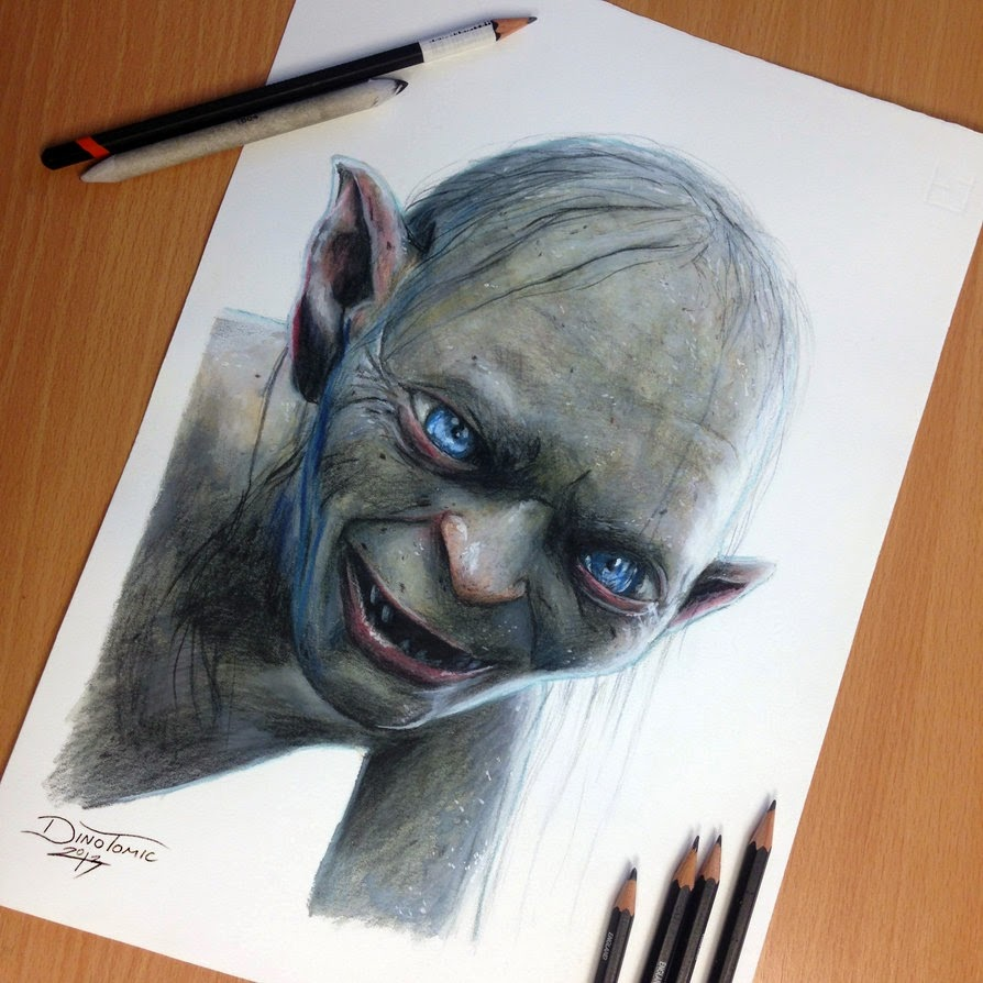 08-Gollum-Smeagol-Andy-Serkis-Dino-Tomic-AtomiccircuS-Mastering-Art-in-Eclectic-Drawings-www-designstack-co