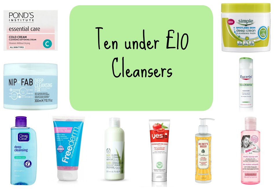 Ten cleansers under £10 | Budget skincare products
