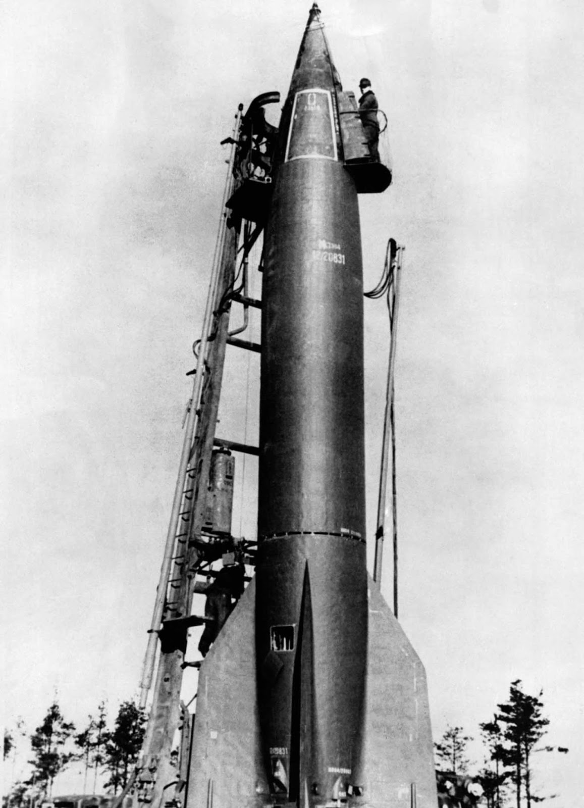 A V-2 rocket is being prepared for launch. 1940.