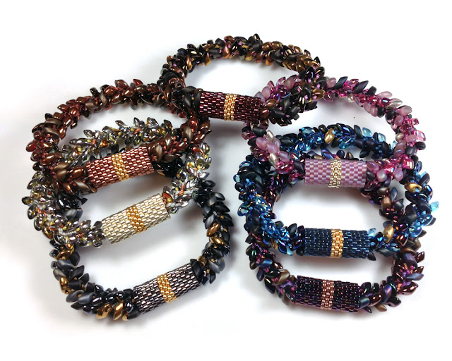 Kumihimo Bracelet with Long Magatamas, C-lon Tex 400 Bead Cord & Peyote Stitch Sleeves