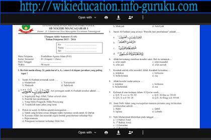 Download Soal Latihan UAS ( Ujian Akhir Semeser ) Untuk kelas 4 Sekolah Dasar ( SD ) Tahun 2015-2016