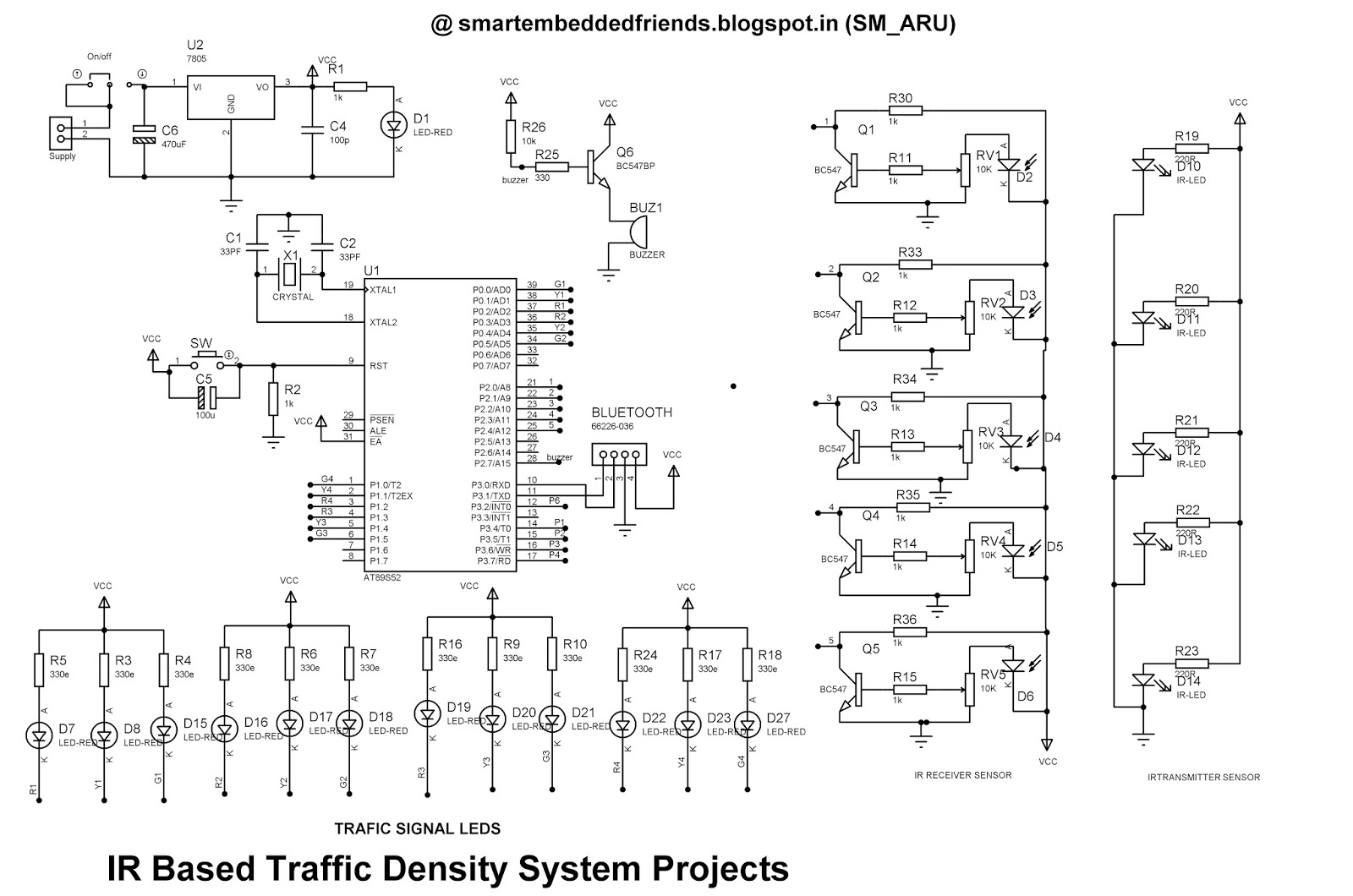 Density Based Traffic Signal Light System With Bluetooth Override Android Home Automation Circuit Block Diagram