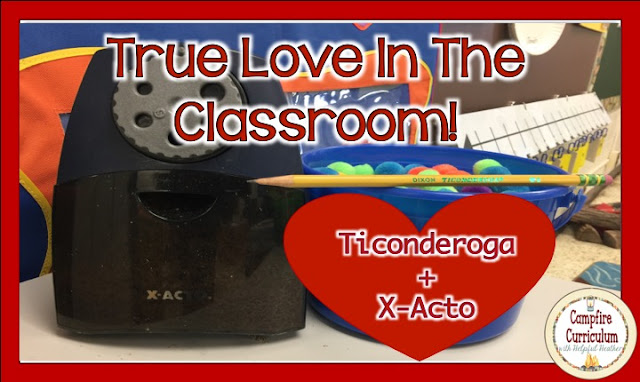"Yes it is the day to proclaim your love!  Does love have to be captured between people?  I say, ""Nay!""  Read this post to find out about a true love story that happens in my classroom on a daily basis.  The relationship between the Ticonderoga pencil and the X-ACTO pencil sharpener is a love like no other.  Without this dynamic duo my days as a teacher would be even longer and more difficult.  If your valentine is a teacher..... you may want to consider this purchase.   Happy Valentine's Day!"