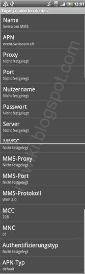 Swisscom mms APN Settings Android Switzerland