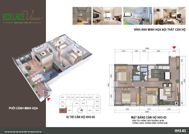 Thiết kế căn 02 tòa HH03 chung cư Eco Lake View
